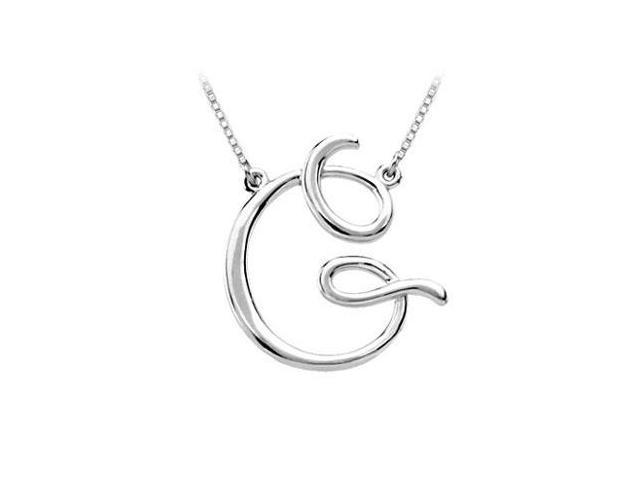 Plain Letter G Script Pendant - .925 Sterling Silver