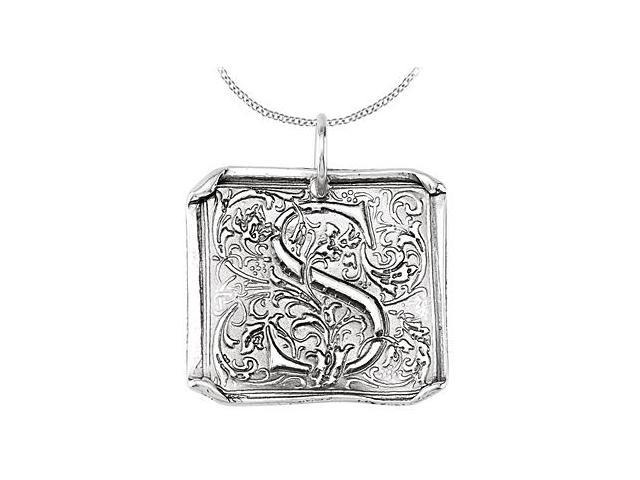 Sterling Silver .925 Rhodium Plating Vintage Letter S Initial Pendant Necklace