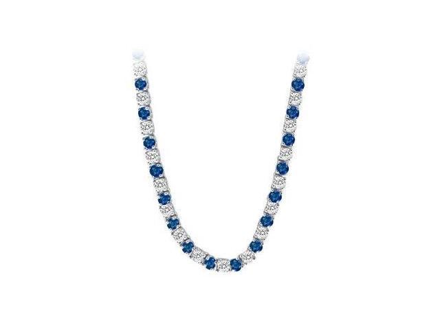 14K White Gold Sapphire  Diamond Eternity Necklace 16.00 CT TGW