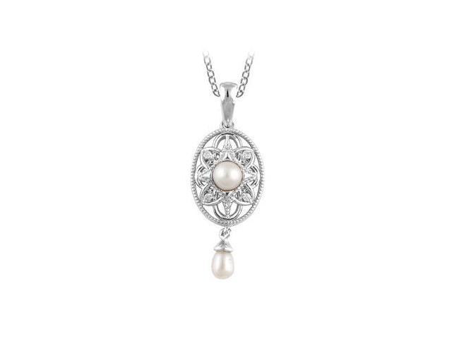 Diamond and Freshwater Cultured Pearl Necklace in .925 Sterling Silver 0.025 Carat Total Weight