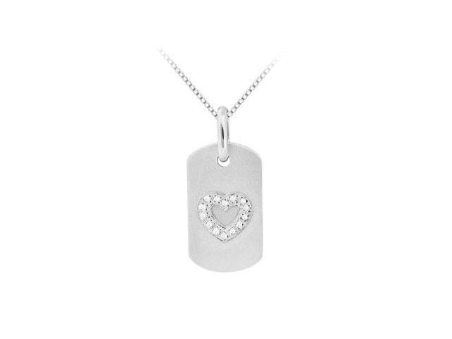 Diamond Heart Engraved Dog Tag Pendant in 14K White Gold 0.30 Carat Diamonds