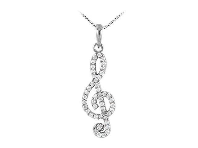 Octave Clef Musical Knot Pendant with Diamonds in 14K White Gold 0.25 CT TDW