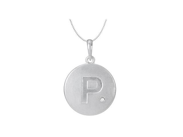 Block Letter P Disc Pendant with Single Diamond Accent in 14K White Gold High Polished