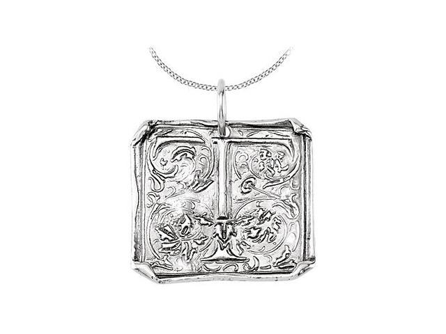 Vintage Pendant with Letter T Engraved Initial Necklace in Rhodium Plating .925 Sterling Silver