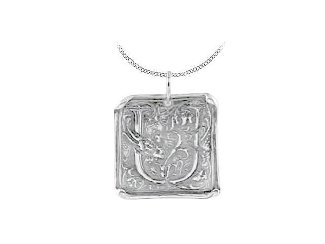 Vintage U Initial Pendant in Sterling Silver .925 Rhodium Plating