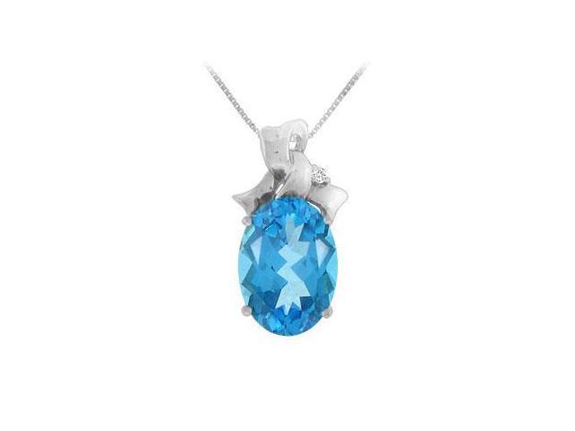 Blue Topaz and Diamond Pendant  14K White Gold - 7.75 CT TGW