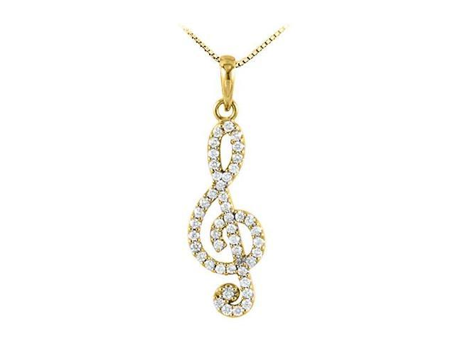 Octave Clef Musical Knot Pendant with Diamonds in 14K Yellow Gold 0.25 CT TDW