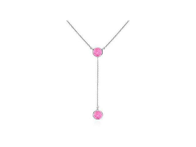 Drop Necklace with Genuine Pink Sapphire of 0.20 Carat Total Gem Weight in 14K White Gold