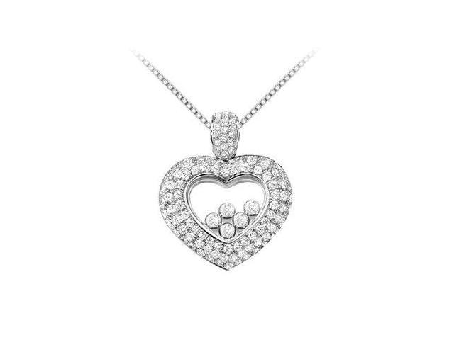 18K White Gold Pave Diamond Floating Heart Necklace with 1 Carat Diamonds