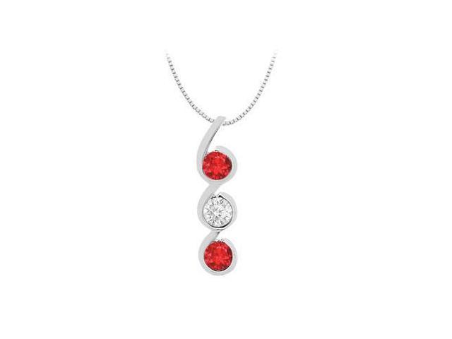 Necklace Created Ruby and Cubic Zirconia Three Stone with 1.20 Carat Total Gem weight in White G