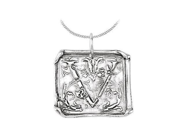 Rhodium Plating .925 Sterling Silver Vintage Letter V  Initial Pendant Necklace