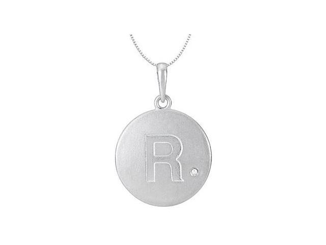 Block Disc Initial R Pendant with Single Diamond Accent in 14K White Gold 16 Inch Necklace