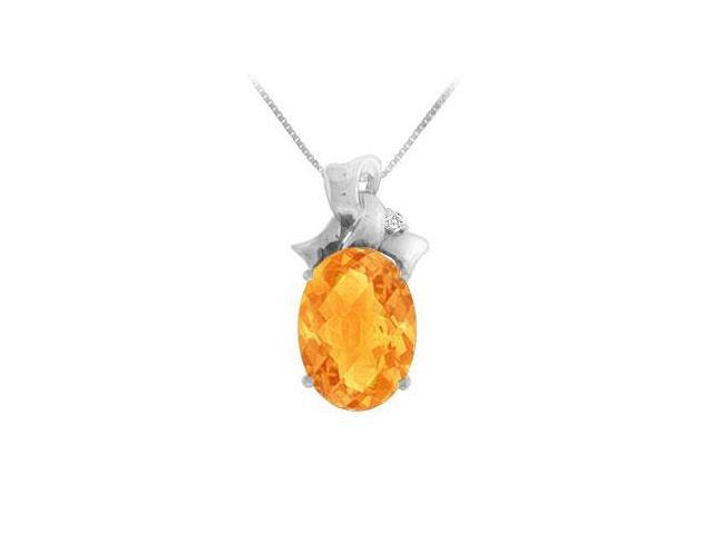 Citrine and Diamond Pendant  14K White Gold - 7.75 CT TGW