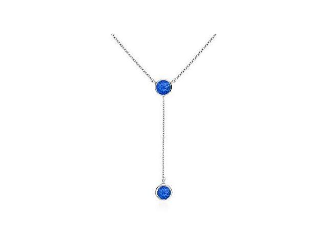 Bezel Blue Sapphire Drop Necklace in 14K White Gold Total Gem Weight of 0.20 Carat
