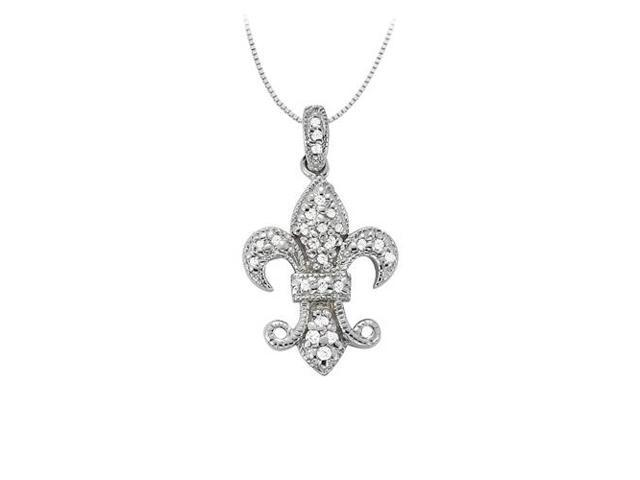 Diamond Fleur-de-Lis Symbol Shaped Pendant in 14K White Gold 0.25 CT TDWPerfect Jewelry Gift