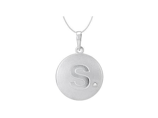 Block Initial S Disc Pendant From Polished 14K White Gold with Single 0.005 Carat Diamond