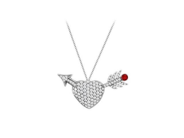 Pendant Diamond Heart and Arrow Ruby in 14K White Gold One Carat Total Gem Weight