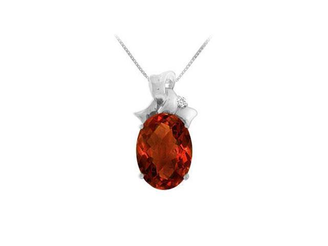 Garnet and Diamond Pendant  14K White Gold - 7.75 CT TGW