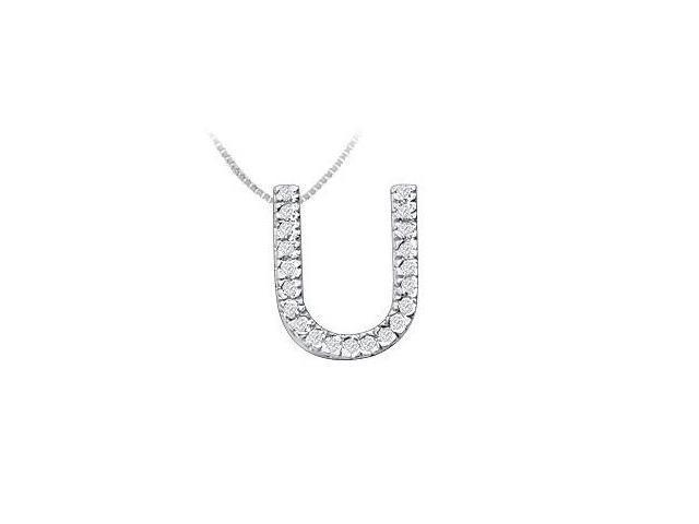Classic U Initial Diamond Pendant  14K White Gold - 0.33 CT Diamonds