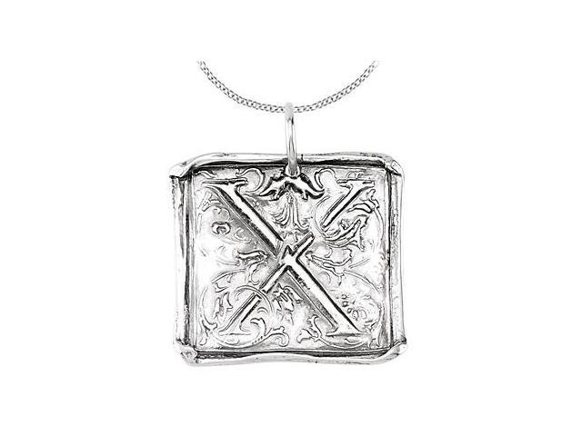 Vintage Letter X Initial Pendant in .925 Sterling Silver Rhodium Plating