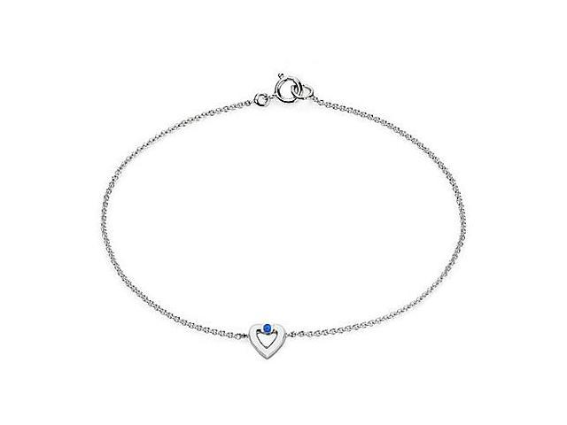 14K White Gold Heart with Natural Blue Sapphire Necklace of 0.10 Carat