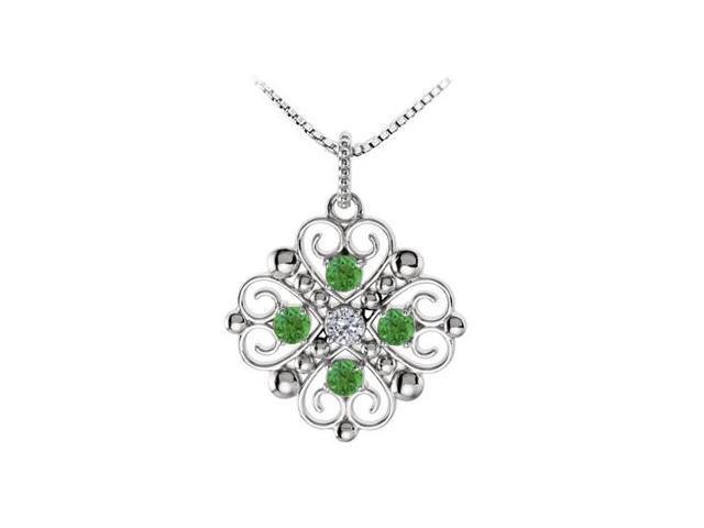 May Birthstone Created Emerald  CZ Heart Pendant in Sterling Silver 0.50 CT TGW