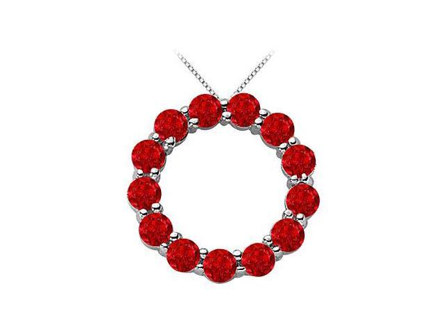 Circle Necklace with Red Ruby Birthstone for July in 14K White Gold 2 Carat Total Gem Weight