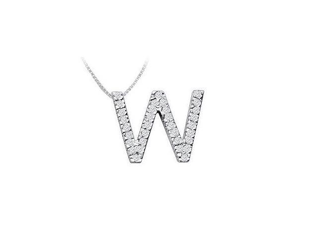 Classic W Initial Diamond Pendant  14K White Gold - 0.50 CT Diamonds