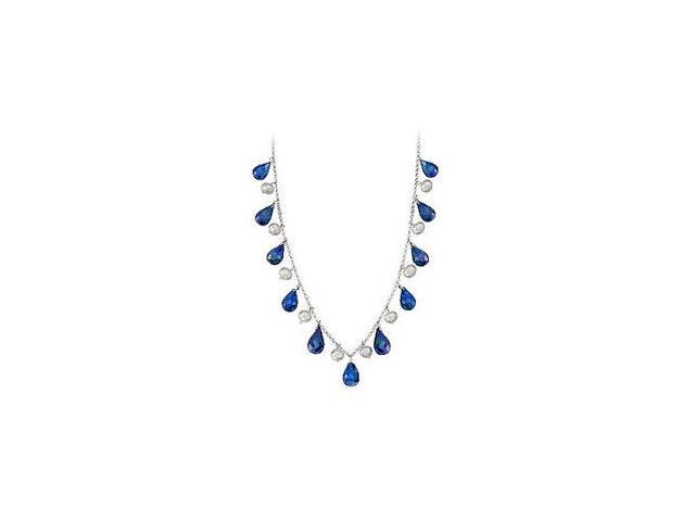 40 Carat Genuine Blue Sapphire Teardrop Necklace with Cultured Pearl Set in 14K White Gold Chain