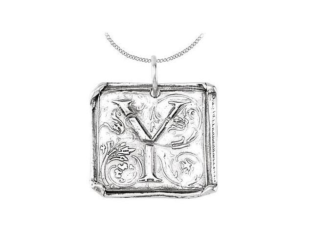 Sterling Silver .925 Rhodium Plating Vintage Letter Y Initial Pendant Necklace
