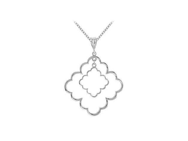 Rhodium .925 Sterling Silver Decorative Pendant 33.50X33.50 MM