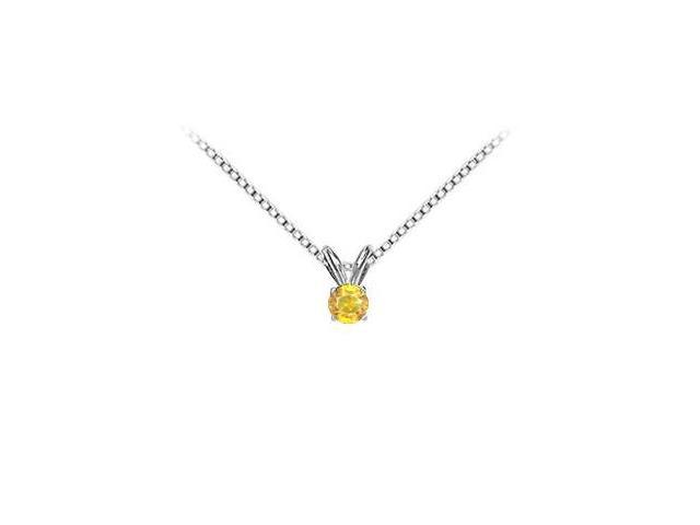 14K White Gold Yellow Sapphire Solitaire Pendant with 0.50 Carat TGW