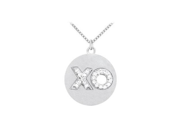 Diamond XO symbol shaped on 14K White Gold Disc Pendant with White Gold Chain