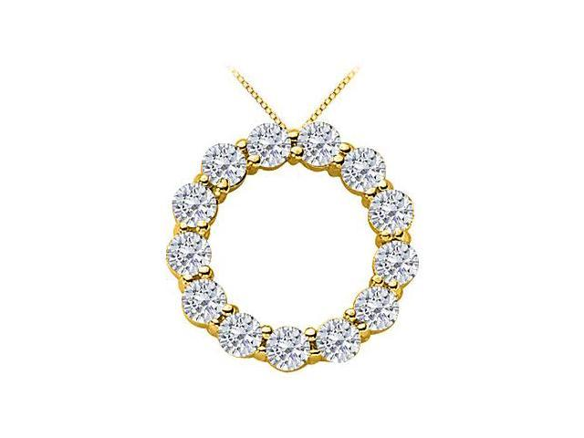 2 Carat Diamond Circle of Life Pendant in 14K Yellow Gold 16 Inch Necklace