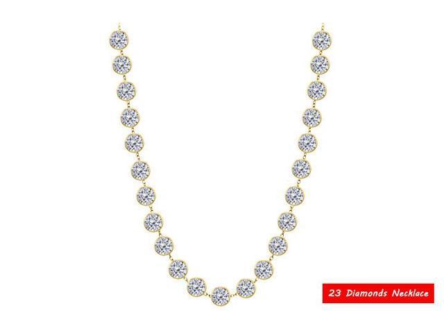 Diamond Yard Station Necklace in 14K Yellow Gold 12 Carat Diamonds