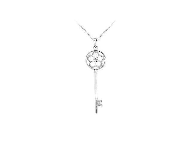 Sterling Silver Fashion Key Pendant with a Flower