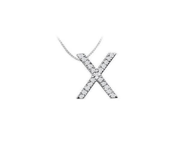 Classic X Initial Diamond Pendant  14K White Gold - 0.33 CT Diamonds