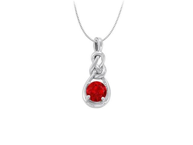 July Birthstone Created Ruby Knot pendant in Sterling Silver 1.00 CT TGW
