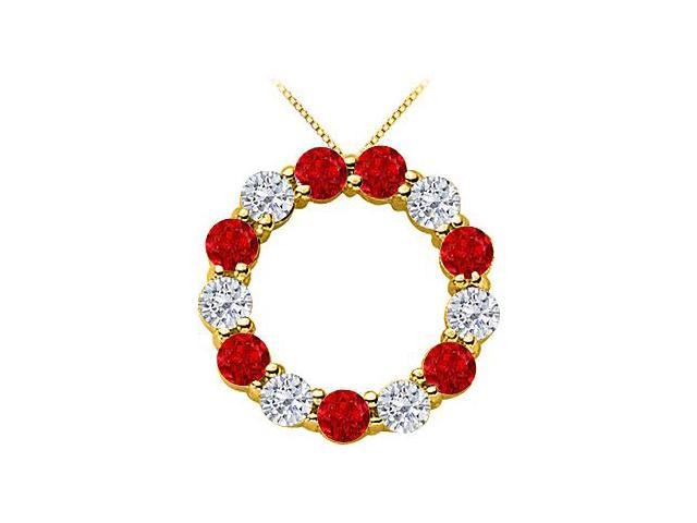 14K Yellow Gold Natural Ruby and Diamond Circle of Life Eternity Pendant in 2 Carat TGW