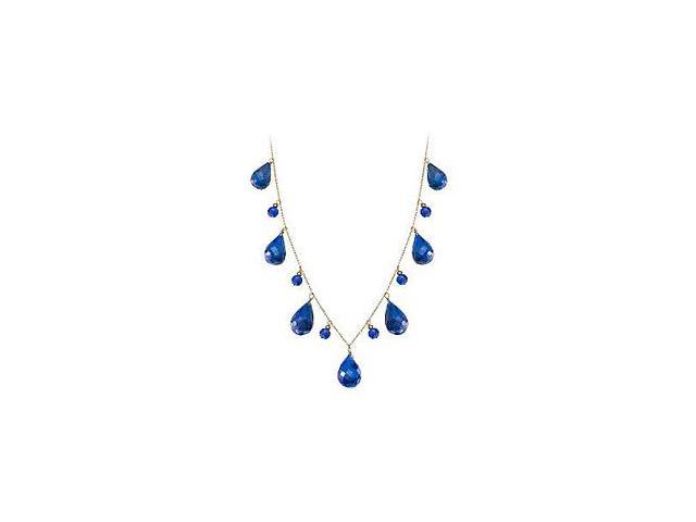 Blue Sapphire Drop Necklace in 14K Yellow Gold with 40 Carat Total Gem Weight