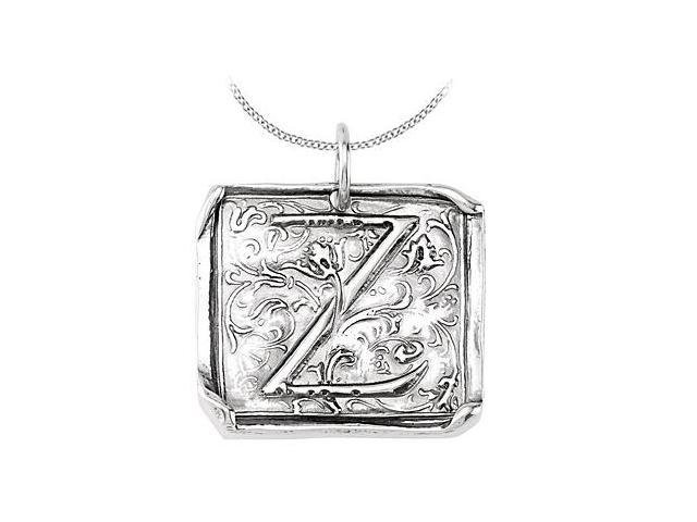 Vintage Pendant with Letter Z Engraved Initial Necklace in Rhodium Plating .925 Sterling Silver