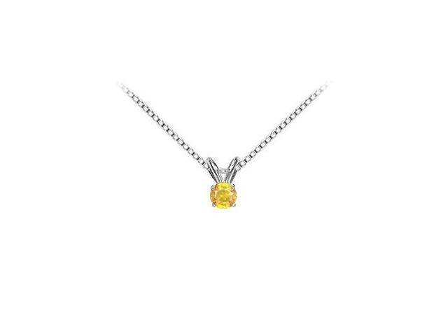Solitaire Pendant Yellow Sapphire in 14K White Gold with 1.00 Carat TGW
