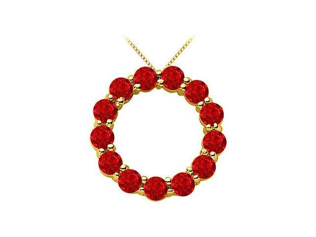 Circle Necklace with Red Ruby Birthstone for July in 14K Yellow Gold 2 Carat Total Gem Weight