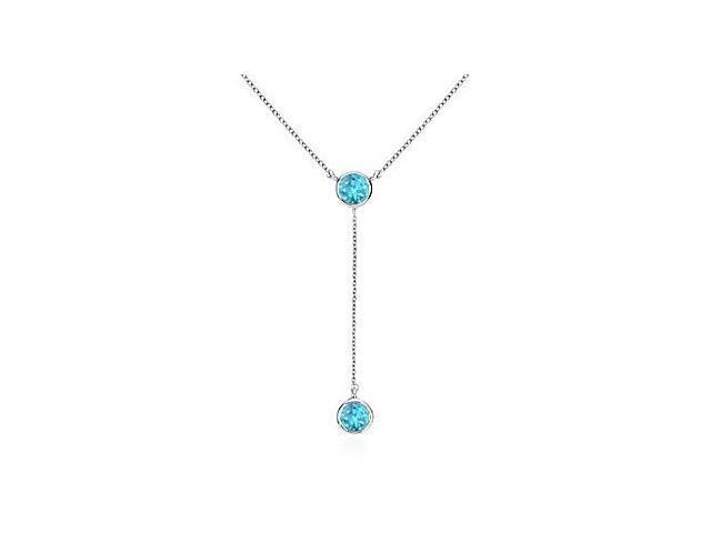 Bezel Set Blue Topaz Drop Necklace in White Gold 14K Total Gem Weight of 0.20 Carat