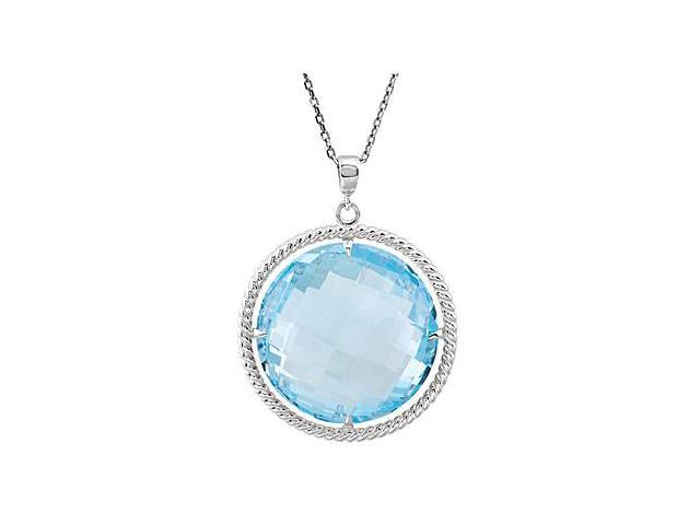 Sky Blue Topaz Pendant of 20MM Round in Rope Styled .925 Sterling Silver 18 Inch Necklace