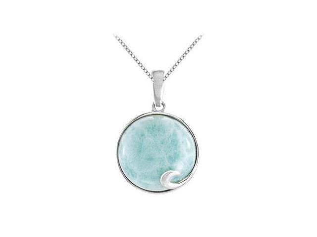 14MM Larimar Cabochon Pendant in Rhodium Treated .925 Sterling Silver