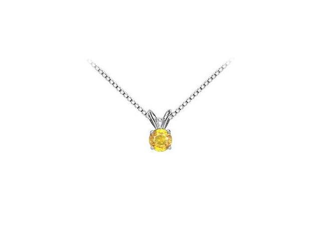 2 Carat Yellow Sapphire Solitaire Pendant in 14K White Gold