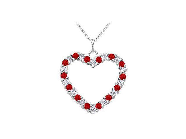 Heart Pendant with Diamond and Natural Ruby in 14K White Gold 0.75 Carat Total Gem Weight