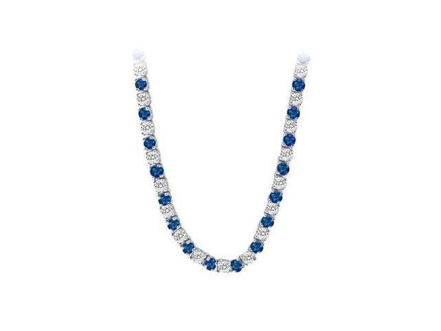 Created Sapphire  CZ Tennis Necklace in 14K White Gold 16.00.ct.tw