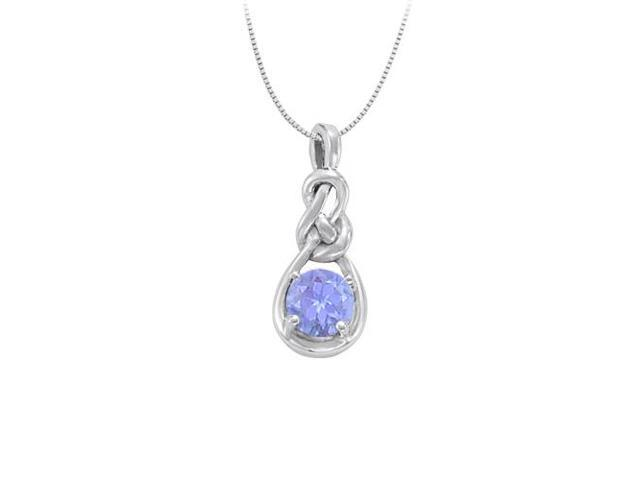 December Birthstone Created Tanzanite Knot pendant in Sterling Silver 1.00 CT TGW